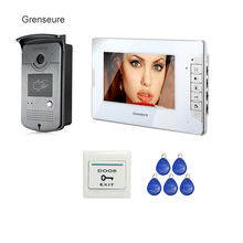 Cheapest prices FREE SHIPPING 7″ TFT Video Door Phone Intercom System 1 White Monitor 1 RFID Reader Doorbell ID Reader Camera In Stock Wholesale