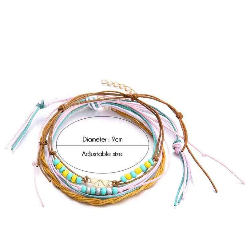 半円形ヴィンテージレモン足首のブレスレットセット金属片色多層アンクレットファッションビーチスタイル手作りビーズロープ