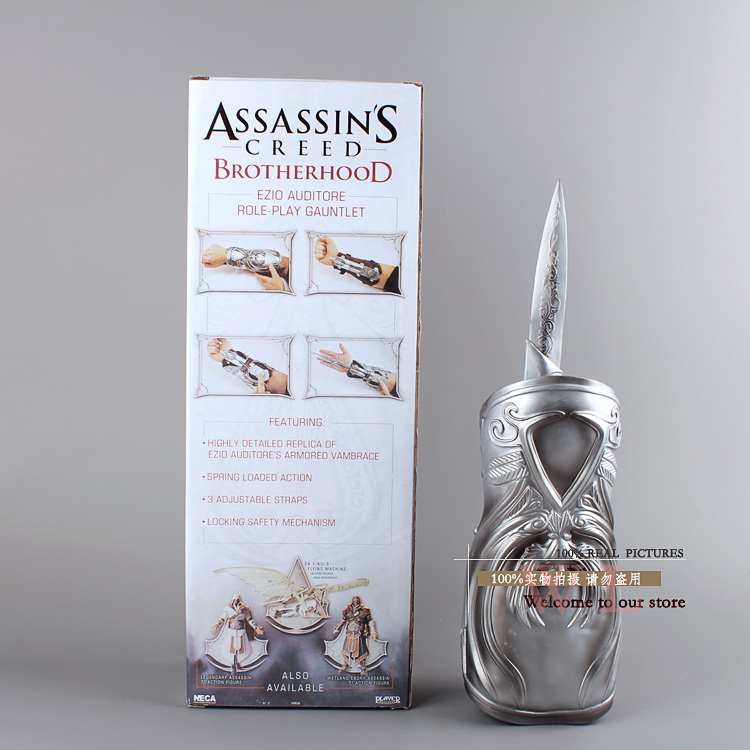 NECA Assassin 'S Creed Brotherhood Lama Nascosta Ezio Auditore Gauntlet Replica Cosplay Weapon Collectible Figure Toy