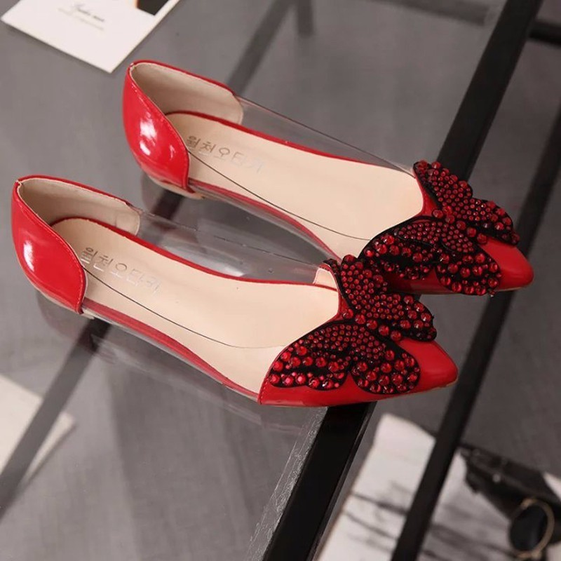 Image 5 - 2018 Luxury Rhinestone Ballet Flat Shoes Women Spring Autumn Butterfly Pointed Toe Wedding Shoes Loafers Size 39Womens Flats   -