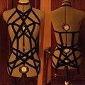 2016 new pastel goth elastic garter belt gothic bust bondage bra Rave wear Binding women top suit cage bra lingerie black retail