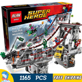 1165 unids super heroes spider-man web guerreros último puente 07038 diy modelo kit de construcción de bloques de regalos juguetes compatibles con lego