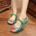 Peacock Women Embroidery Shoes Chinese Style Flats Mary Janes Casual Shoes Red+Black Soft Sole Cloth Shoes Woman SMYXHX-C0045