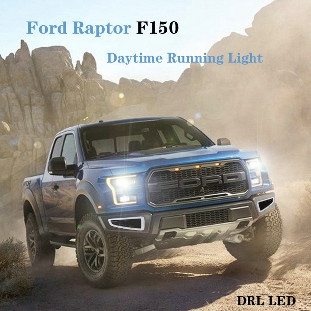 Car DRL LED Daytime Running Lights For Ford Raptor F150 2009 2010 2011 2012 2013 2014 2015 Turn Signal Fog Yellow Lamp led drl day lights for mitsubishi asx 2013 2014 2015 daytime running light driving fog run lamp with yellow turn signal