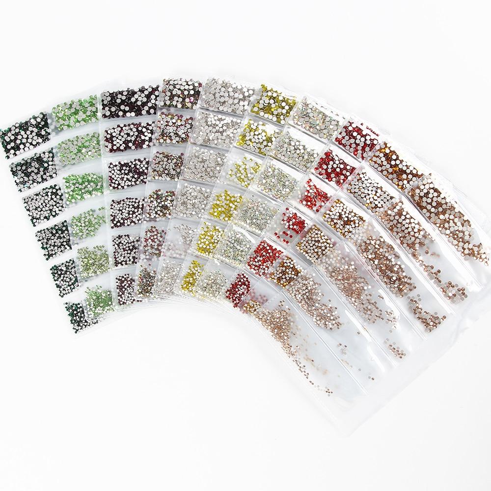 Top Quality 30 Colors SS3-SS10 Small Sizes 1680pcs Nails Art Crystal Glass Rhinestones For Nails 3D Nail Art Decorations Gems я immersive digital art 2018 02 10t19 30