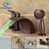 LED Waterfall Basin Faucet 3 PCS Deck Mounted Sink MIxer Tap Dual Handle Faucet