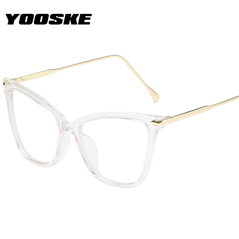 YOOSKE Trendy Cat Eye Glasses Frames Women Myopia Optical Frame Metal Clear Lens Black Pink Eyeglasses Transparent Spectacles