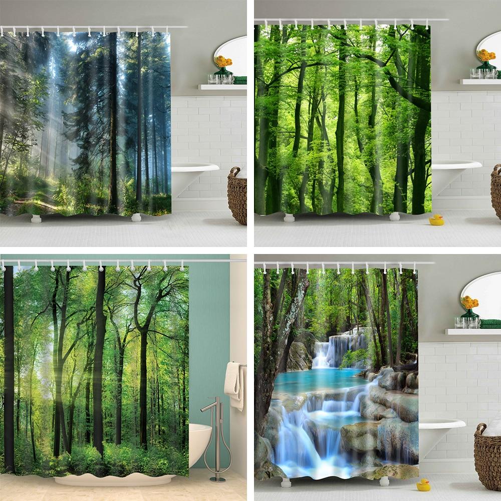 >Forest trees printed 3d green Shower Curtain pattern Bathroom shower <font><b>Waterproof</b></font> <font><b>Mildewproof</b></font> Decor Cortina de bano180x200cm large