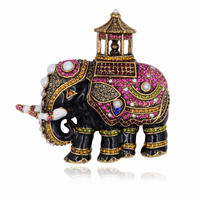 Enamel Thailand Elephant Brooch Pin Pearls Lucky Animal Crystal Rhinestone Vintage Jewelry Accessory