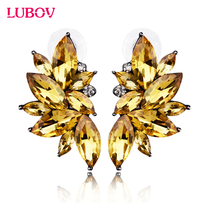 Opal Stone Stud Øreringe Christmas Party 2018 Splinterny Elegant Crystal Øreringe For Kvinder Trendy Golden Women Earrings