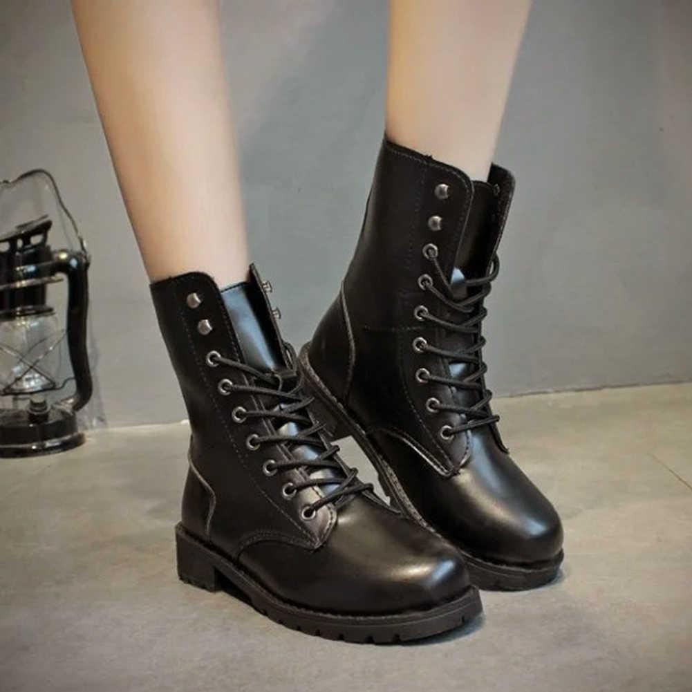 Женские ботинки до середины икры из искусственной кожи, Уличная обувь на шнуровке, мотоциклетные ботинки