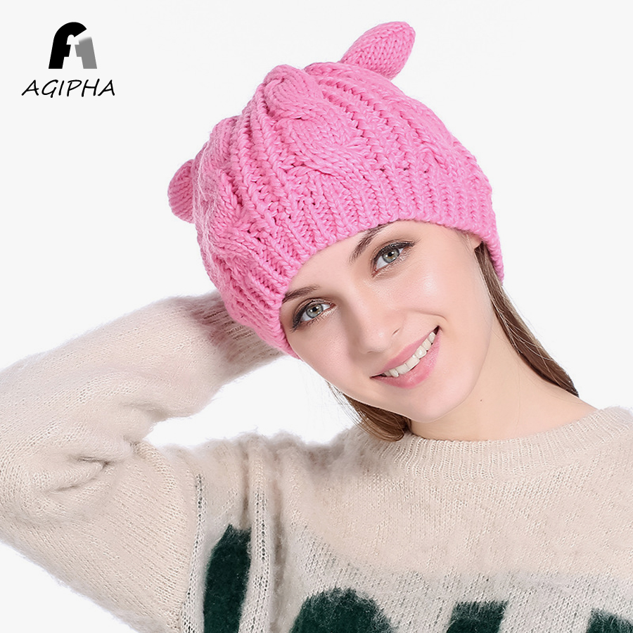 Pink Knitted Autumn Winter Women Beanies Hat With Cute Cat Ears Warm Solid Female Skullies Cap Type BL01 Free Shipping