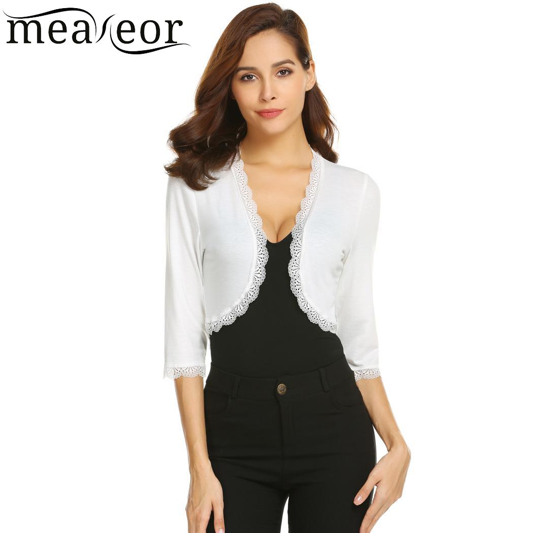 meaneor Sleeve Casual Three Quarter Women Lace Patchwork Short Cardigan ...