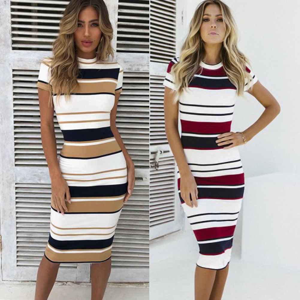 a96997a42146 Fashion Women's Strappy Bodycon Skinny Sheath Slim Striped Short Sleeve  Holiday Summer Ladies Midi Dress Size