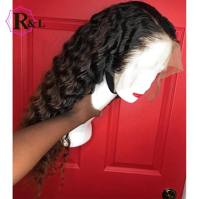 RULINDA rizado 13*6 pelucas brasileñas del pelo humano del frente del cordón con la peluca delantera del cordón del pelo del bebé peluca Remy del pelo nudos blanqueados predesplumados