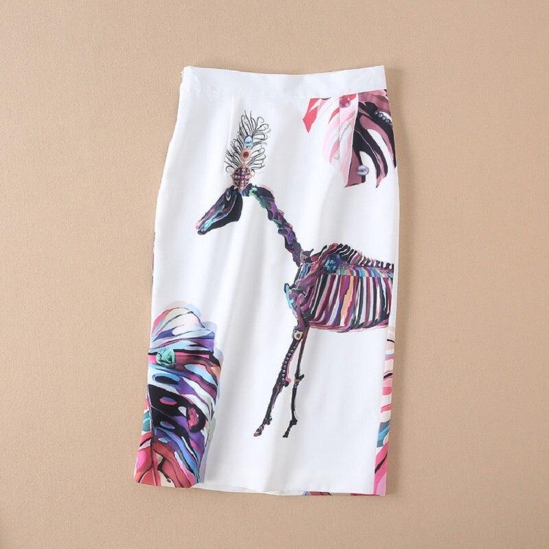 Designer Printemps Haute Abstrait Longueur Costumes Imprimer Costume Femmes Qualité Mi 2019 Été Vêtements Jupe mollet Blouse Set Crayon CUXq5vnXH