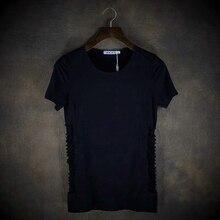 Brief fashion elegant slim personality male short-sleeve T-shirt t-shirt