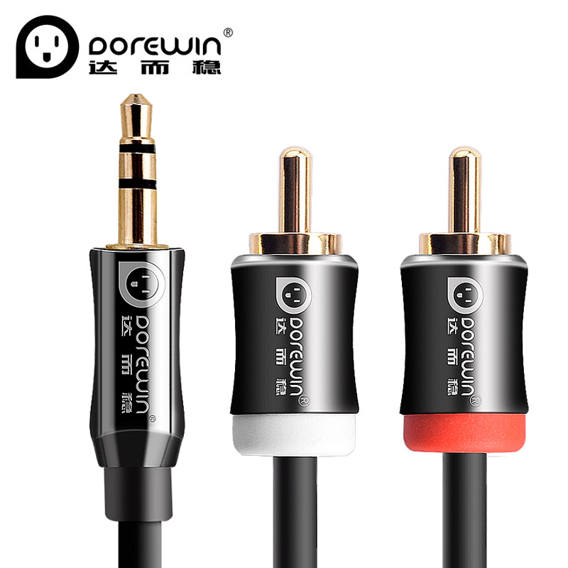 Dorewin Audio Cable jack 3.5 to 2rca cable male to male 2rca to 3.5mm rca aux cable 3m 5m for Edifer Home Theater Headphone DVD
