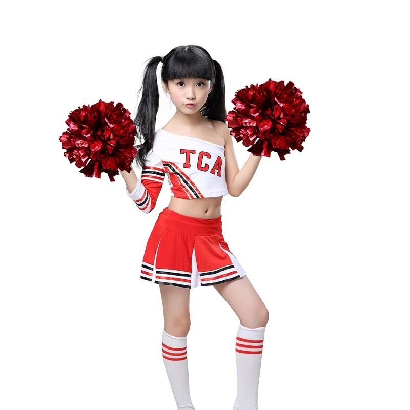 Girls Red & White Cheerleader Uniform Costume Cheerleading Outfit + Poms Socks Cheer Uniform Dress High School Team wear 3-15YrsGirls Red & White Cheerleader Uniform Costume Cheerleading Outfit + Poms Socks Cheer Uniform Dress High School Team wear 3-15Yrs
