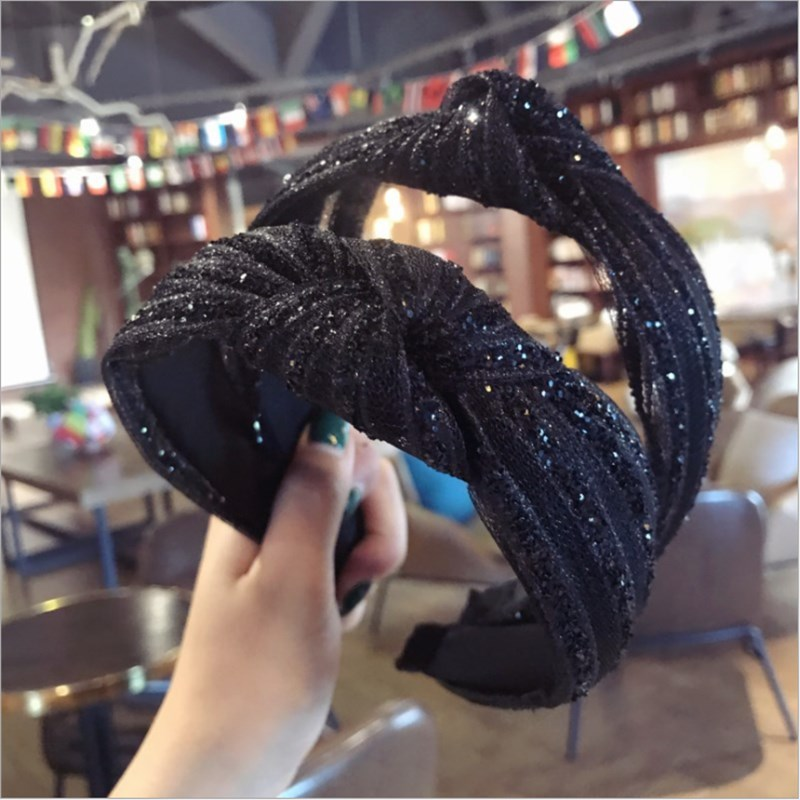 High-end Boutique Hair Accessories Women's Diamond Super Flash Fabric Middle Knotted Bow Wide-brimmed Fashion Hairband Headband