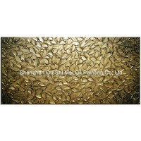 Large Size Handpainted Oil Painting on Canvas Golden Knife Leaves Landscape Home Decor Modern Abstract Wall Picture Art
