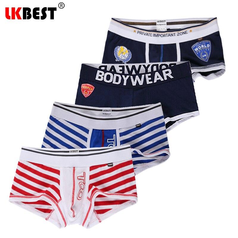 LKBEST 4 pieces/lot cuecas boxers high quality men underwear cotton mens boxer shorts Pouch underpants men (N-167192)