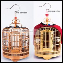 33cm 36cm Bamboo thrush bird cage,starling cage large homemade carving old bamboo full set of accessories