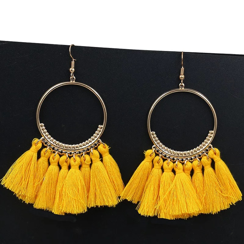 MISM 1 Pair 2018 Hot Sale Earring Occident Style Tassel Bohemia Folk Round Fashion Sexy Dangler Exaggerating Retro High Quality