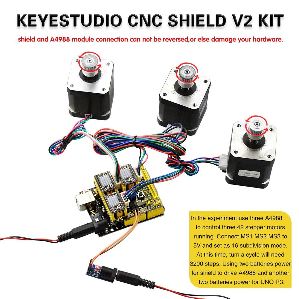 Surprising Free Shipping Keyestudio Cnc Kit For Arduino Cnc Shield V2 Uno R3 Wiring Cloud Hisonuggs Outletorg