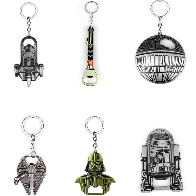 Star Wars Spaceship Bottle Opener Keychain Toys Starwars Lightsaber Millennium Falcon R2d2 Beer Bottle Openers Keyrings BB8