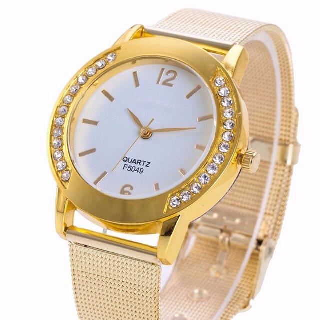 Luxury Watch Women 2019 Crystal Golden Brand Stainless Steel Bracelet Analog Quartz Wrist Watch Dress Clock Relogio Feminino 1