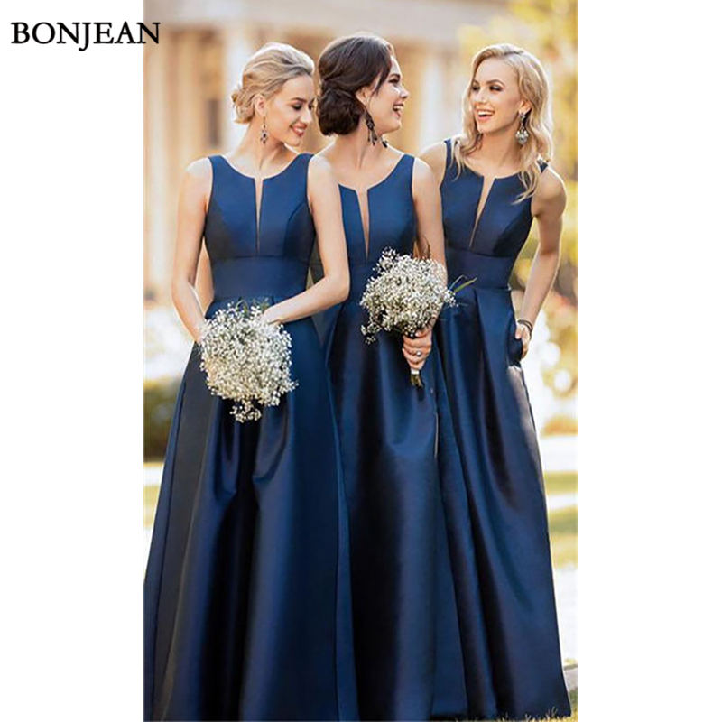 Simple Navy Blue   Bridesmaid     Dresses   With Pocket A-Line Round Neck Sleeveless Long Satin Party Wedding Guest   Bridesmaid     Dress