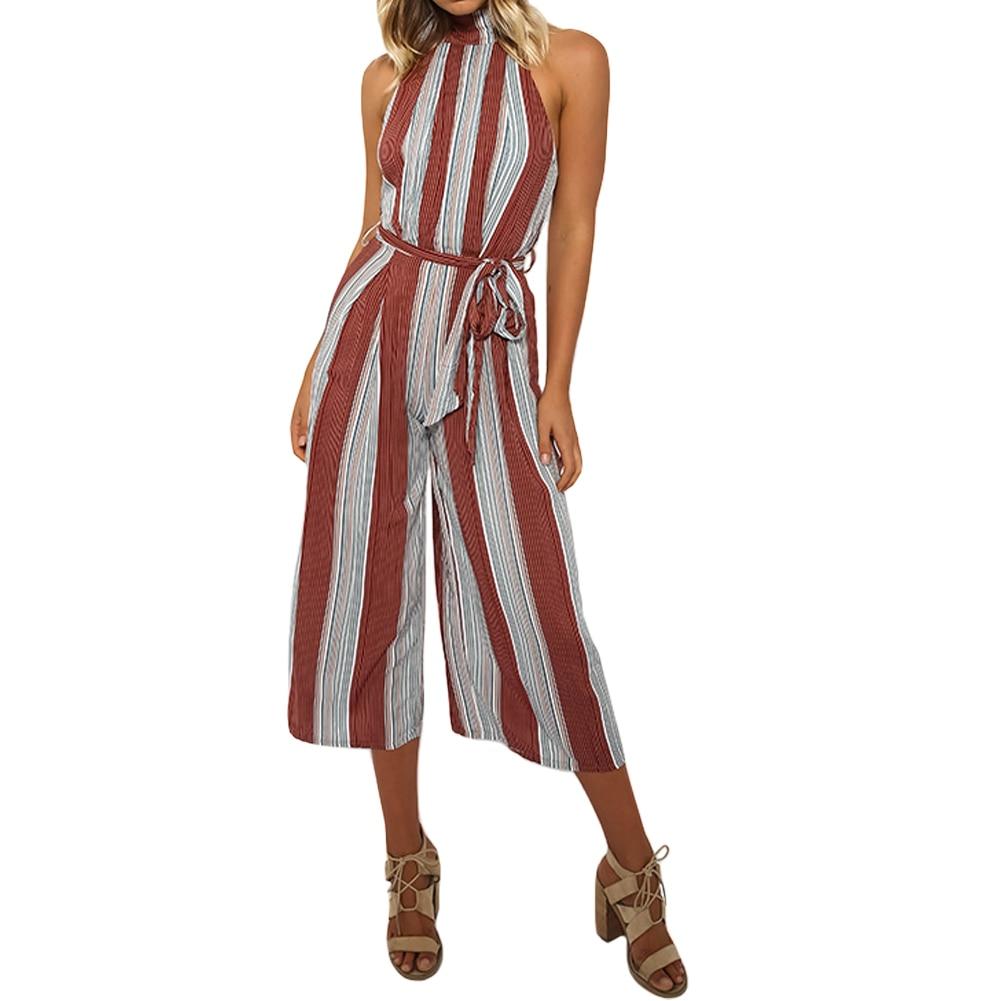 100% QualitäT 2019 Mode Gestreiften Frauen Overall Sexy Backless Sommer Casual Frauen Overall Sleeveless Strand Overall Plus Größe