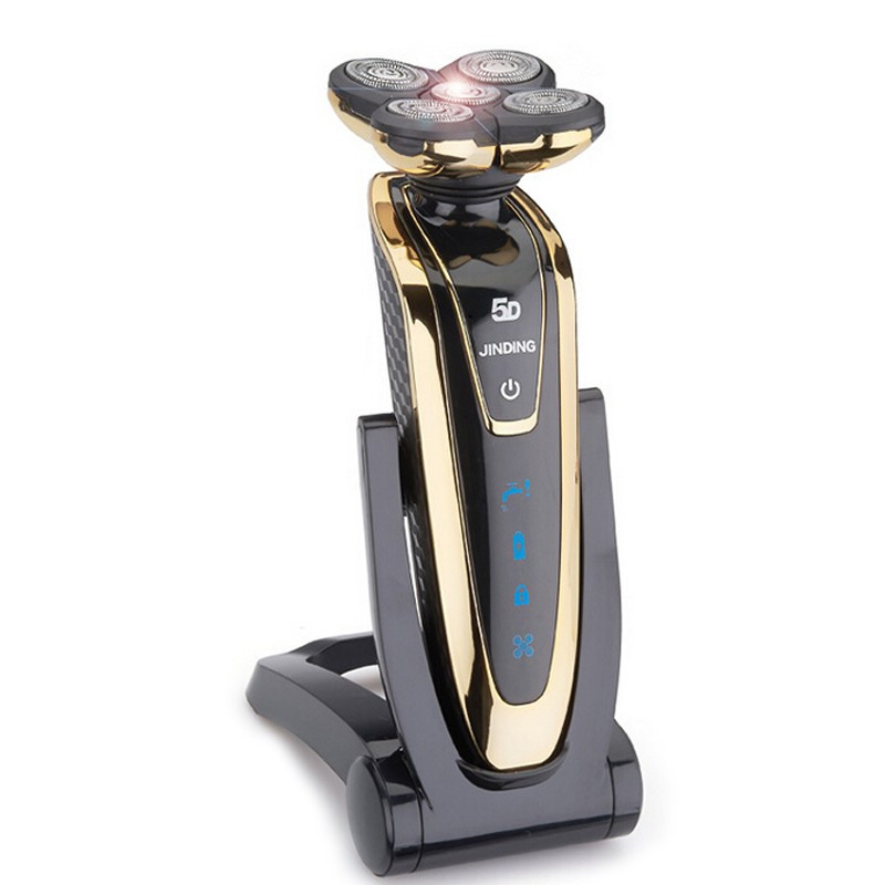 Gold 3W Electric Shaver Rechargeable Men Electric Epilator 5D <font><b>Floating</b></font> <font><b>5</b></font> Shaver <font><b>Heads</b></font> Razor Blade <font><b>Waterproof</b></font> Shaving Machine