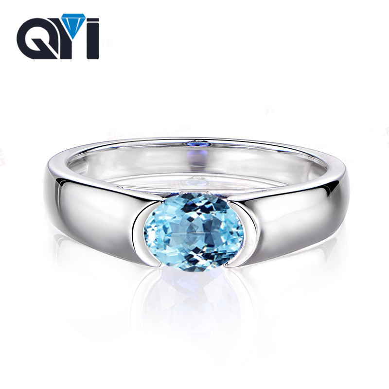 QYI Fashion Natural Sky Blue Topaz ring Solid 925 Sterling Silver Oval Cut 1.25ct  Solitaire engagement Gemstone ring For WomenQYI Fashion Natural Sky Blue Topaz ring Solid 925 Sterling Silver Oval Cut 1.25ct  Solitaire engagement Gemstone ring For Women