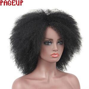 Image 3 - Pageup סינטטי פאה נשי שחור קינקי מתולתל פאת האפרו שיער פאה עבור נשים שחורות קצר שיער