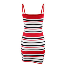 2018 New Fashion Stripe Dresses Sleeveless Women Striped Party Knitted Dress Casual Vestidos Robe Femme