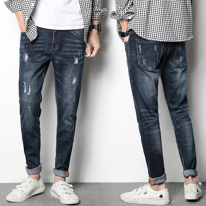 Mens jeans 2018 high quality cotton Korean straight leg hole cotton stretch fashion jeans Scratching jeans trousers men