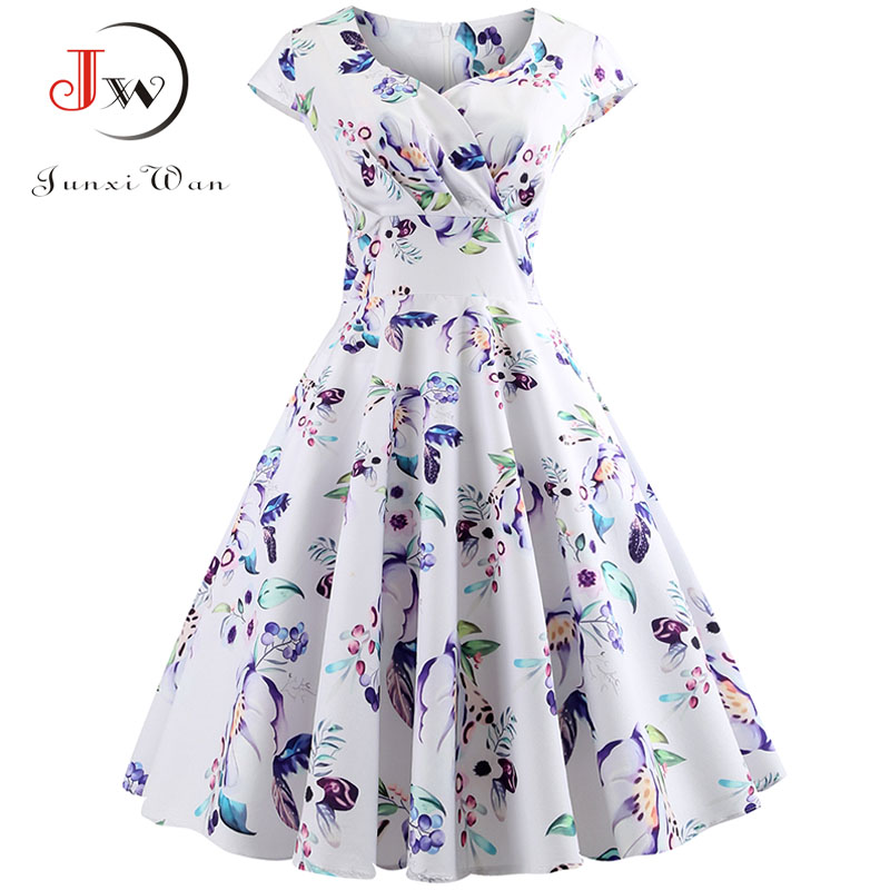 New Summer Dress Women Cap Sleeve Floral Print Hepburn 50s 60s Vintage Dress Tunic Elegant Slim Party Dresses Sexy Sundress