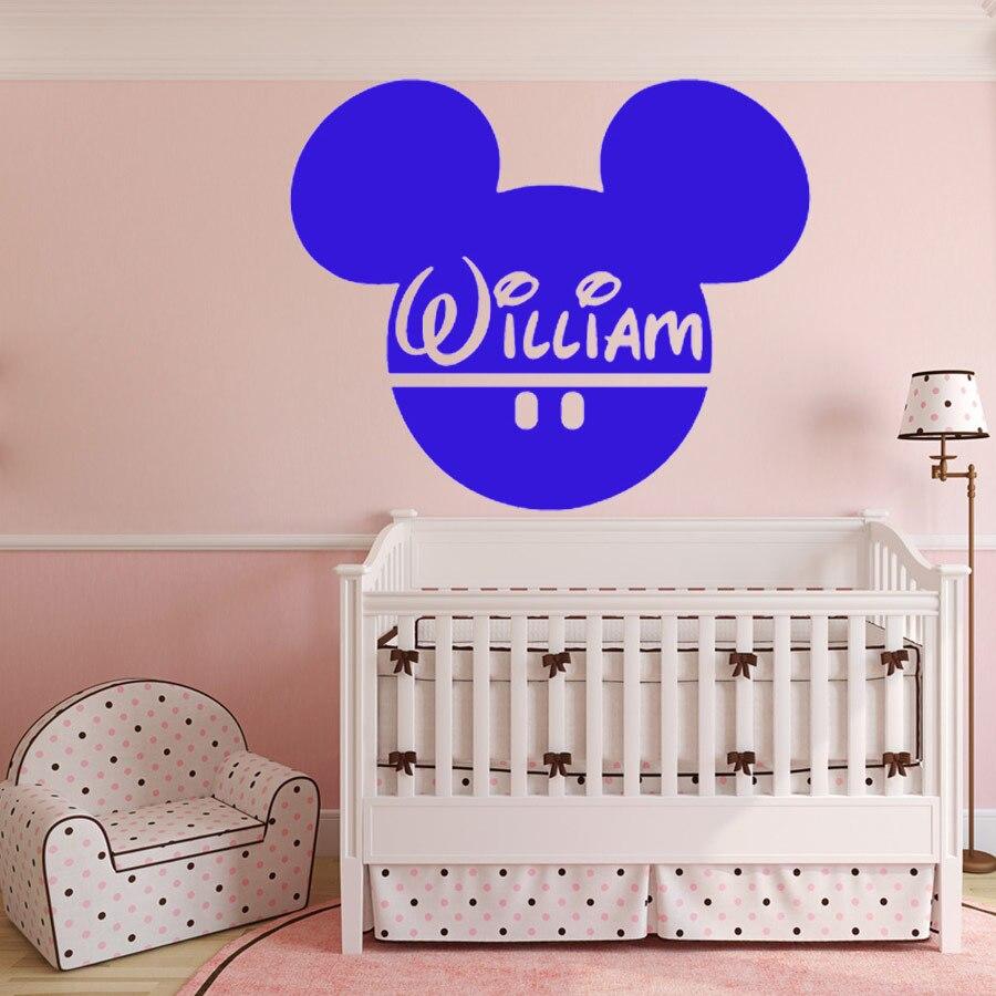 KINDERZIMMER Wandaufkleber Vinyl Dekorative Aufkleber Wandtattoo  Benutzerdefinierte Baby Name Kopf Mäuse Ohren Mickey Maus Wandkunst 56x67  Cm In ...