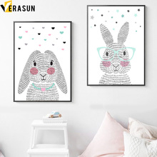 Cartoon Rabbit Nursery Wall Art Canvas Painting Nordic Posters And Prints Animals Art Prints Wall Pictures Baby Kids Room Decor цена и фото
