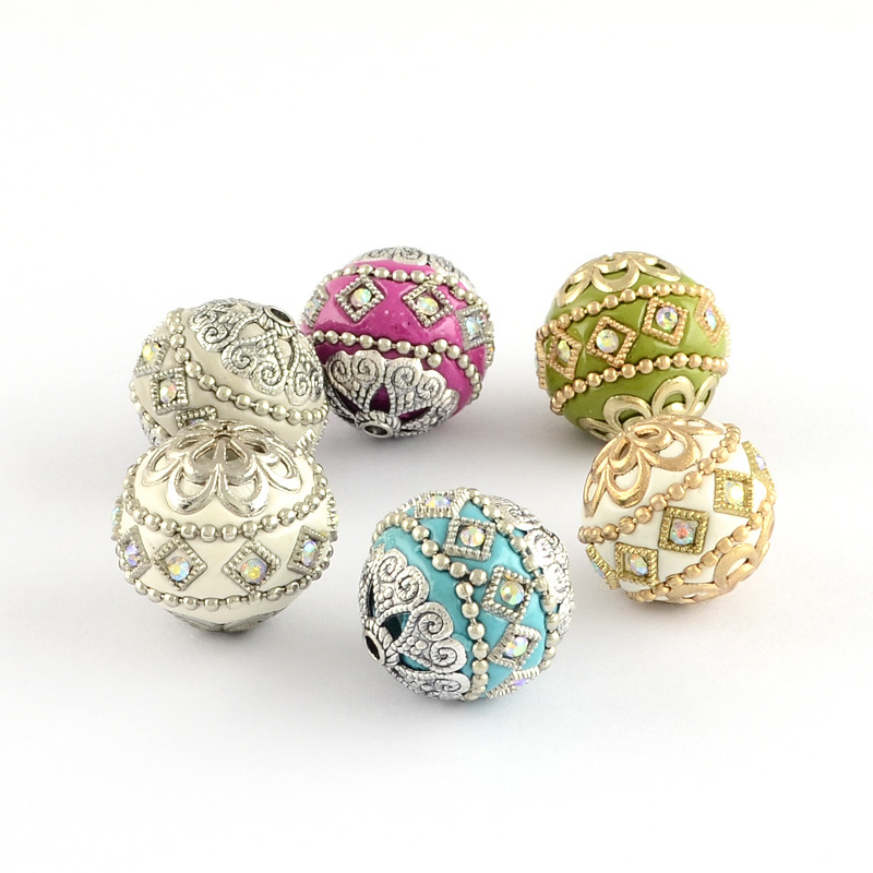 100pc 20mm Round Handmade Grade A Rhinestone Indonesia Beads with Alloy Cores Mixed Color DIY Jewelry