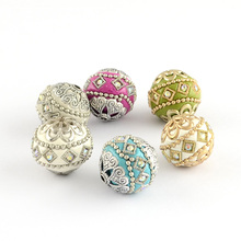 100pc 20mm Round Handmade Grade A Rhinestone Indonesia Beads with Alloy Cores Mixed Color DIY Jewelry Making Handicraft Supplies