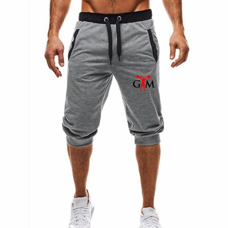 GYM Summer Men Leisure Men Knee Length Shorts Color Patchwork Joggers Short Sweatpants Trousers Men Bermuda Shorts Fitness