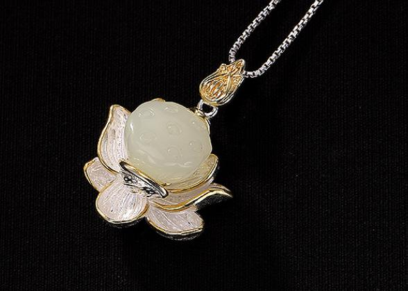 Sterling S925 925 silver Pendant Necklace gilding flower natural stone trendy 31mmSterling S925 925 silver Pendant Necklace gilding flower natural stone trendy 31mm