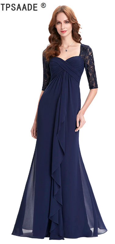 Us 112 13 11 Off Navy Blue 2018 Mother Of The Bride Dresses Lace Dress Elegant Half Sleeve Chiffon Ruffles Evening Gown 0578 In