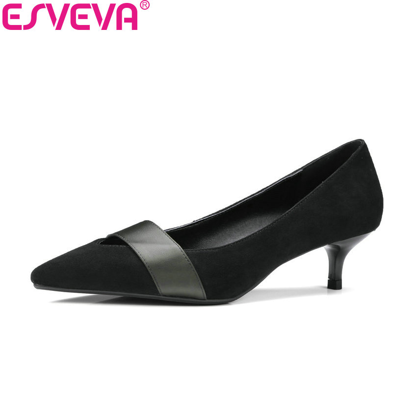 ESVEVA 2018 Women Pumps Concise Thin Med Heels Cow Leather PU Spring Autumn Pointed Toe Slip on Shallow Pumps Shoes Size 34-41 spring autumn women pumps mules shoes patent leather casual fashion slip on pointed toe big size lazy shoes shallow thin heels