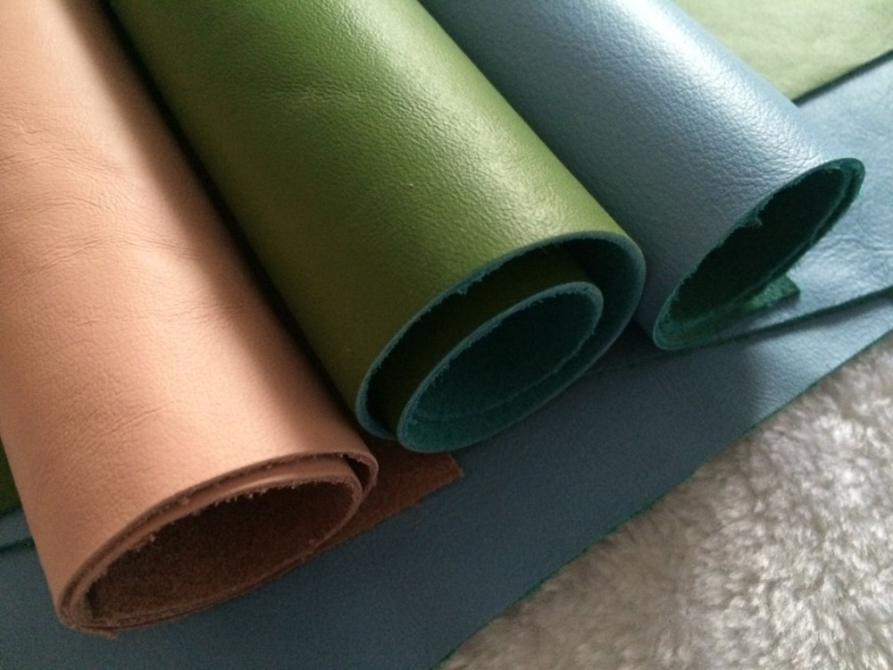 Genuine Grain Cowhide Leather for Making Wallet Purse Bag , Sky Bule Leather,Green PInk Color Leather
