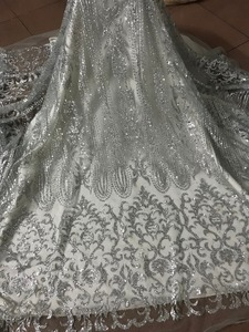 Image 5 - silver Glued glitter Tulle Lace Fabric Embroidered Tulle Fabric JIANXI.C 52826 With glitter