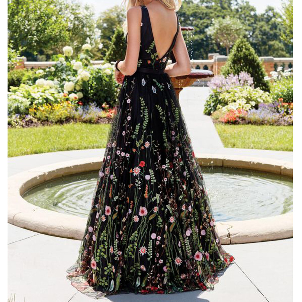 Sexy Deep V Women Dress Ladies Sleeveless Embroidered Slim Backless Big Swing Dress party gown Long Maxi Dress Vestidos #Z